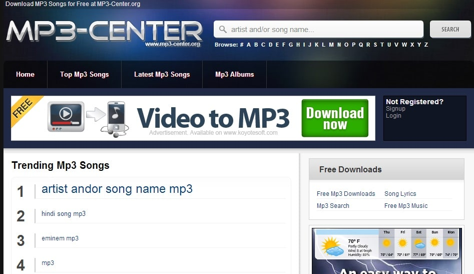 In mp3jam you can only find public