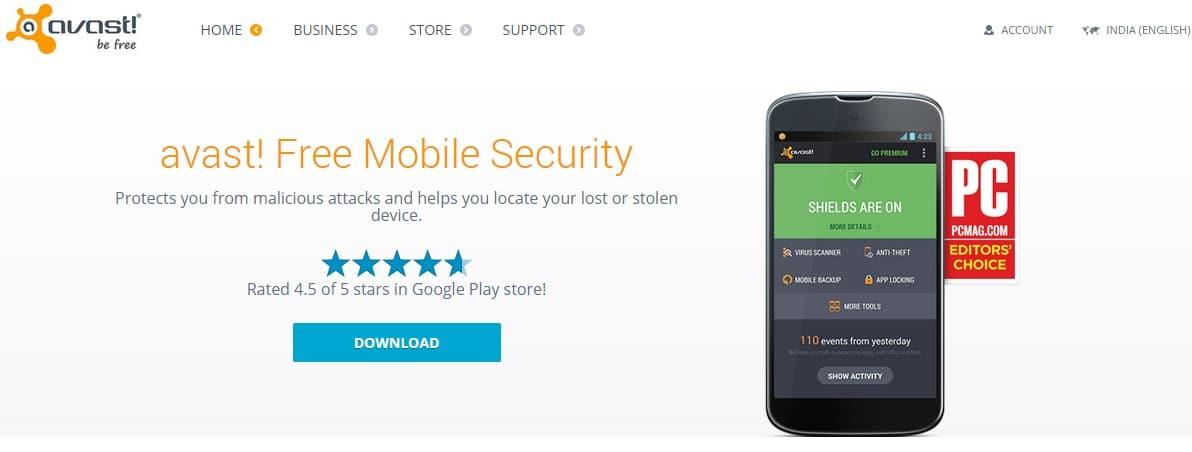 avast! Free Mobile Security افضل 5 تطبيقات للحمايه/الاخطار عند ضياع هاتفك او سرقته .
