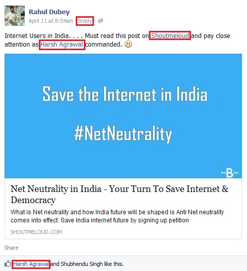 Facebook Trending NetNeutrality - Rahul Dubey and Harsh Agrawal - Sharing the Smart Way