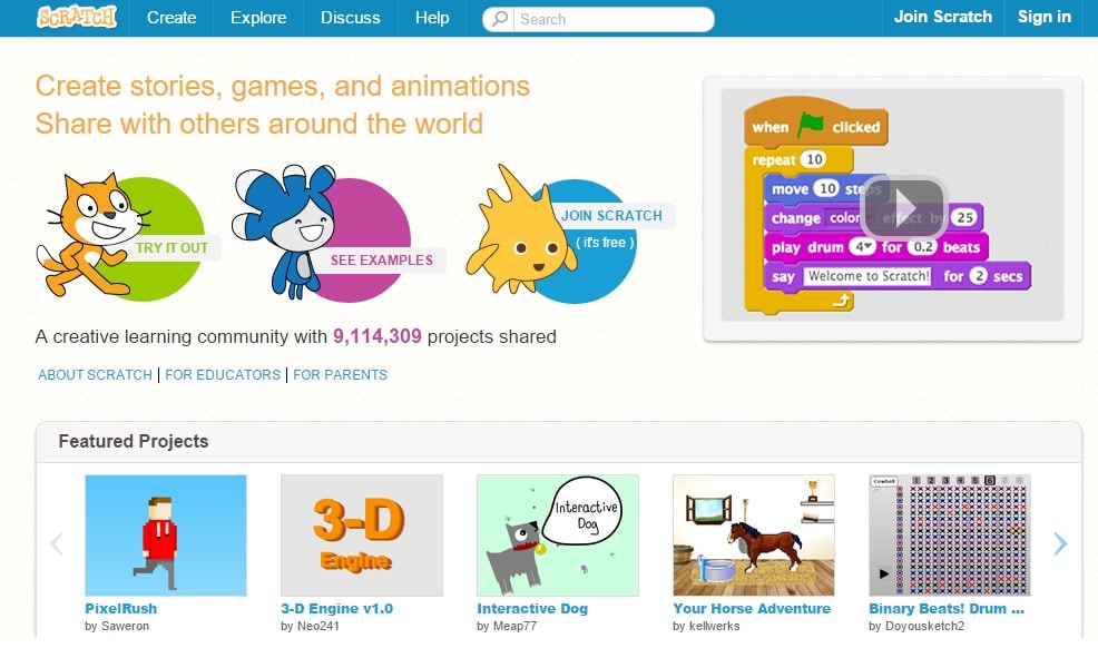 Scratch - Learn to create stories, games, animations and other visual programming online