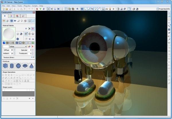 3D Canvas - 3D Cratfer Software Program for 3D Modelling and 2D-3D Animation Tool