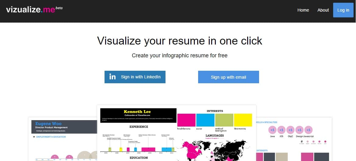 vizualizeme free infograpgic resume builder to visualize your resume in one click