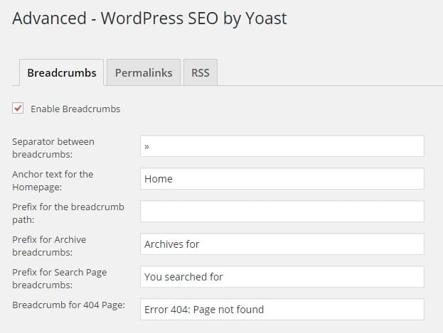 Advanced WordPress SEO by Yoast Settings - Breadcrumbs Settings