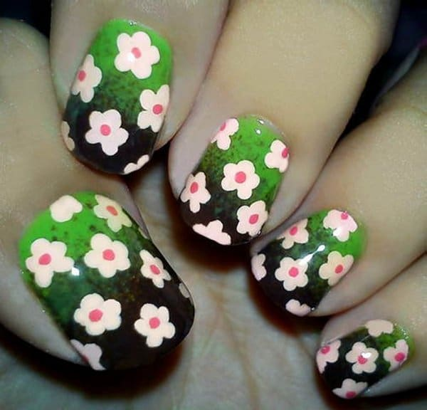 Cool-easy-nail-designs-flowers-Short-Nails