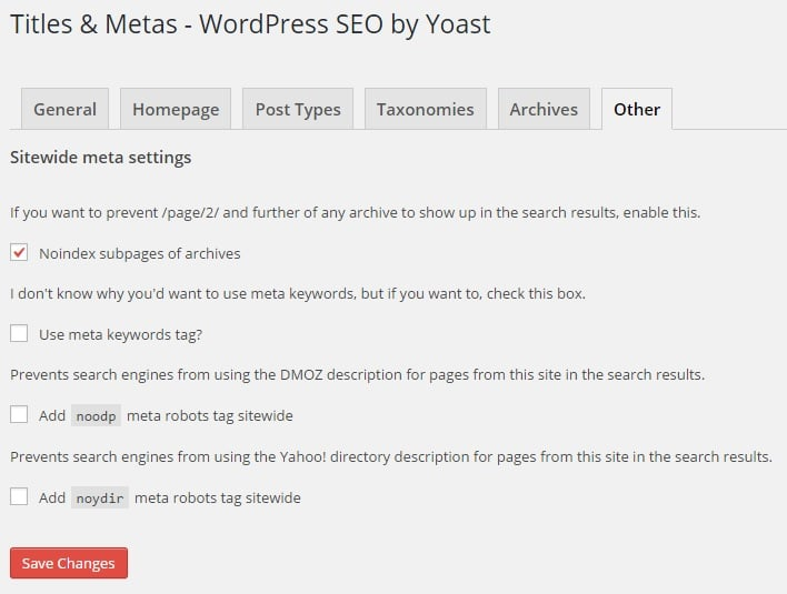 Disable Sub-Archives Pages Indexing from Sitewide Meta Settings in WordPress SEO by Yoast