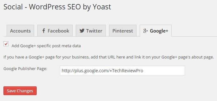 Google Plus Business Page Authorship Verfication Settings WordPress SEO by Yoast