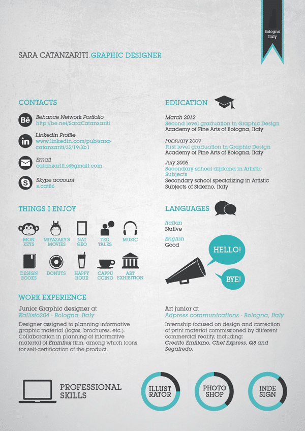 Graphic Resume CV Design Ideas for Inspiration