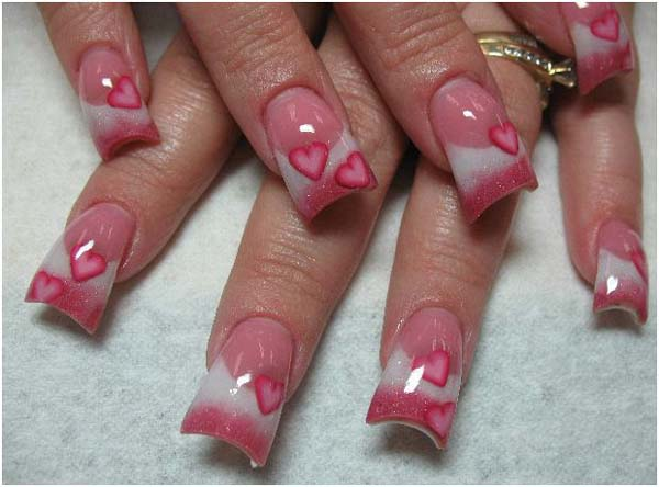 Heart Acrylic Nail Designs Ideas