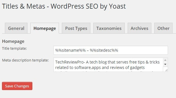 Homepage Title and Meta Description Template Settings in WordPress SEO by Yoast