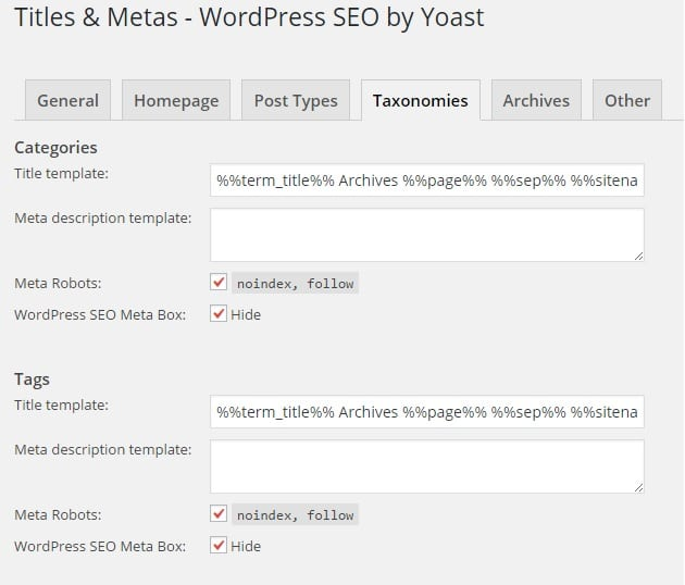 Keep Taxonomies Like Tags and Categories Noindex But Follow for Best WordPress SEO Settings