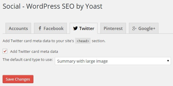 Twitter Card Meta Data Social Settings in WordPress SEO by Yoast Settings