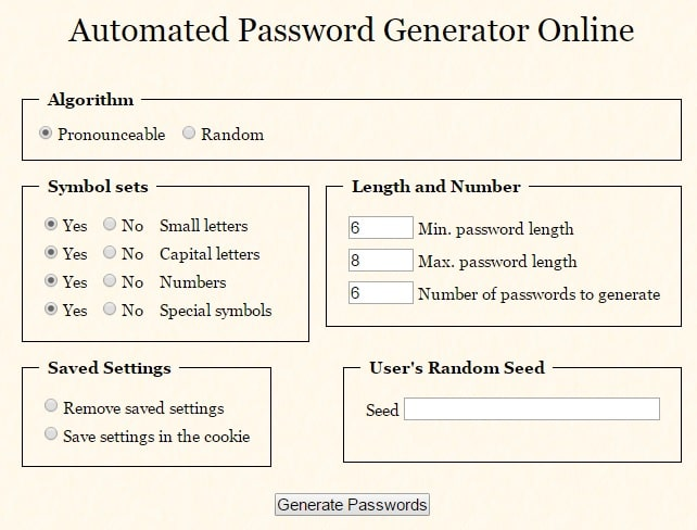 Automated Password Generator Online - Free Prounounceable Generator