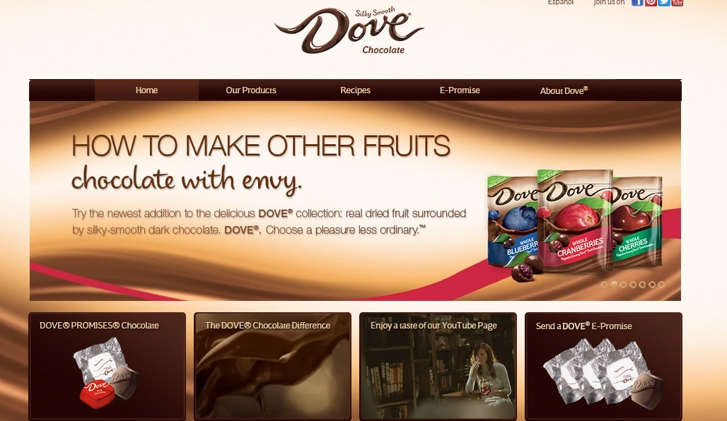 Dove Chocolate - Online Chocolate Websites Design Inspiration