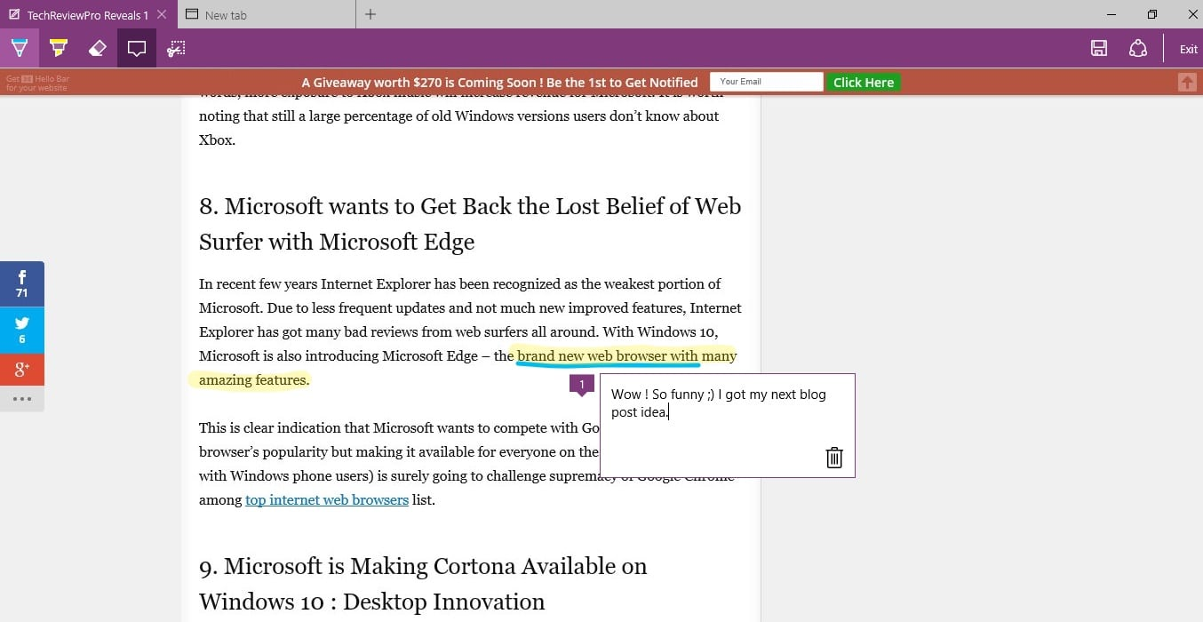 How Microsoft Edge Browser Annotation Feature Works - Edge Browser Tips and Tricks