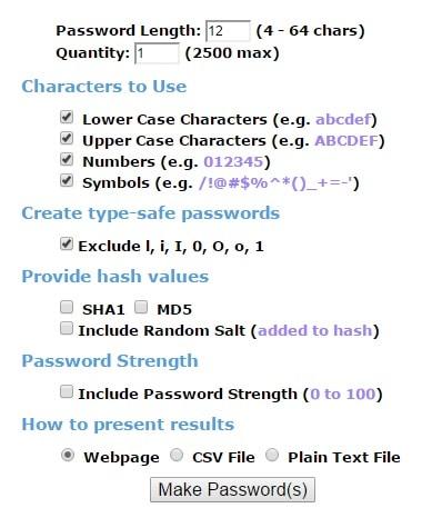 Make Passwords Online - Secure Random Password Generator