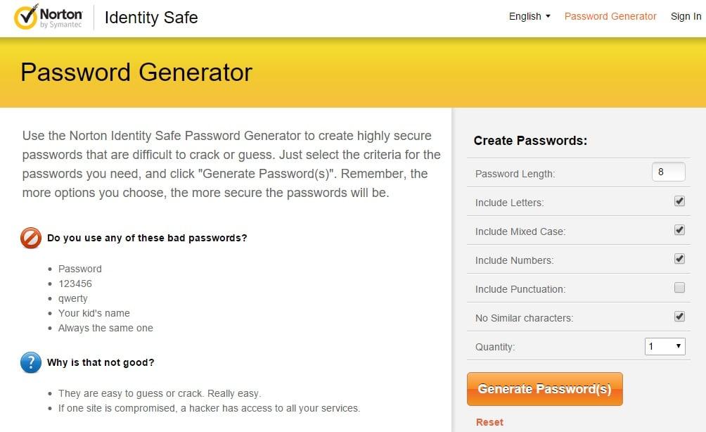 Norton Identity Safe Secure Password Generator