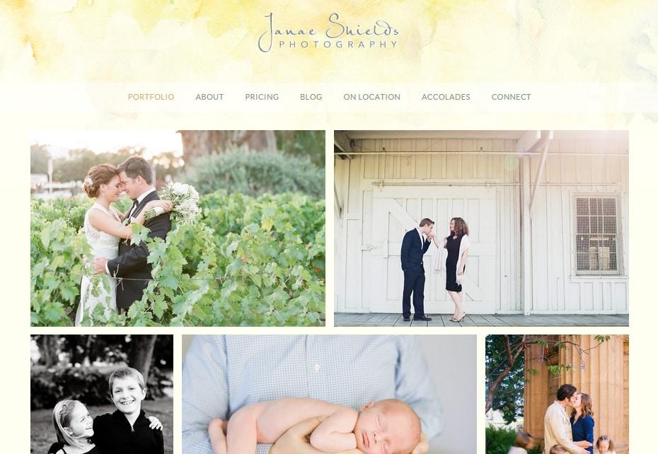 Janae Shields Photography Website Design Ideas for Portfolio