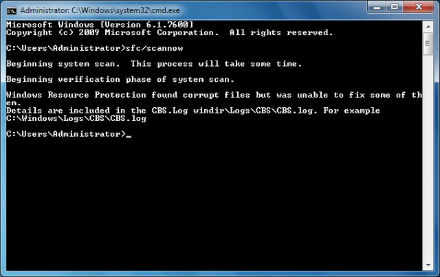 scan PC from Command prompt - safe command prompt trick for Windows Users