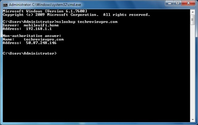 command prompt hack to see website IP address in Windows - Cool Command Prompt Hack