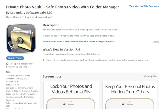 Private Photo Vault: Protect all iPhone Photos - get best security for iPhone