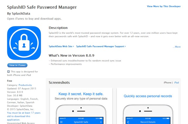 SplashID - Safe Password Manager for iPhone - Best iPhone Security Apps
