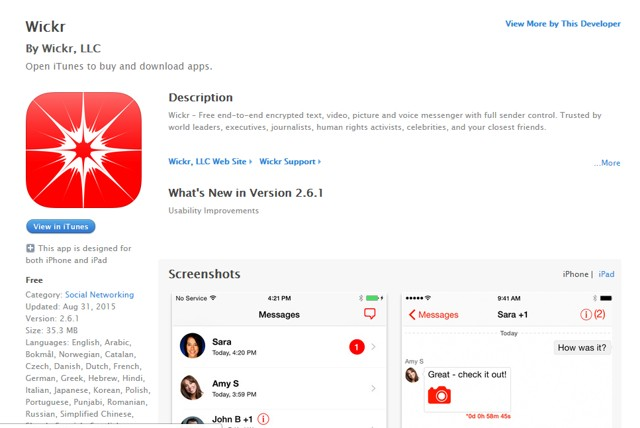Wickr: Send Self-destruct messages with iPhone - encrypt iPhone data - Best iPhone Security Apps