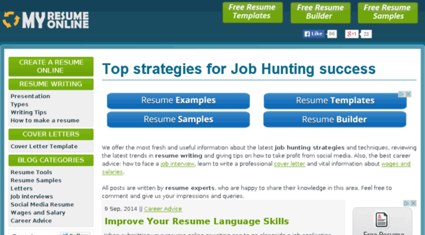 MyResumeOnline - Best Free Online Resume Maker Site - Curriculum Vitae Creator