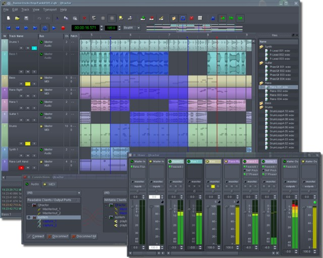 qtractor: best free audio editor software for Linux - best Linux audio editor