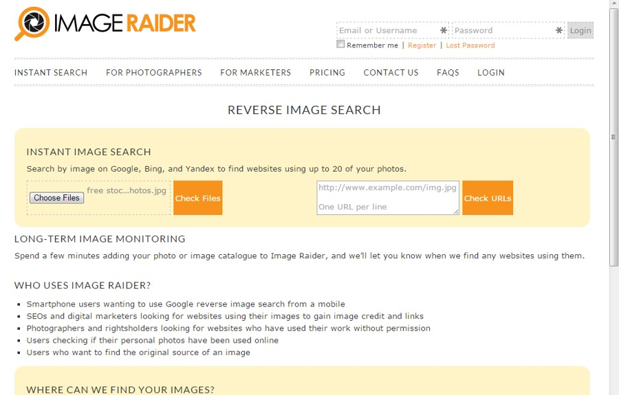 Reverse image search by Image Raider - Search by Images