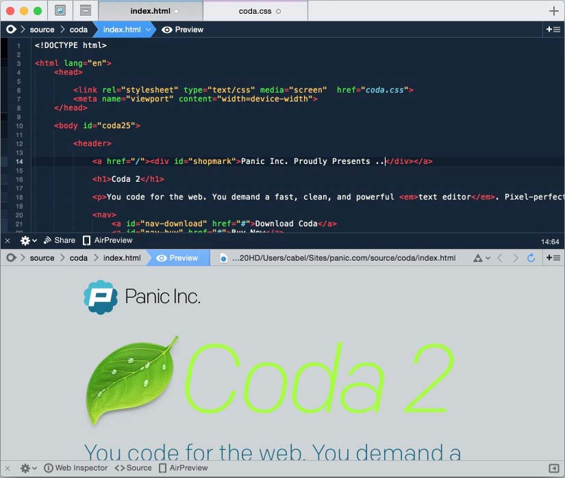 Coda Best Paid Text Editor for Mac IDE Features - Recommended Best Text Editors for Mac - Best Mac Text Editors - Paid and Free Text Editor for Mac