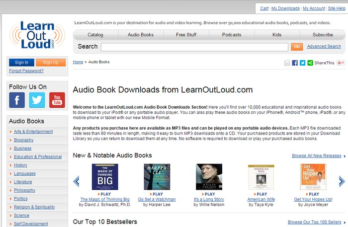 LearnOutLoud - Best Sites to Download Free Audio Books Online - Download Free Streaming Audio Books Online