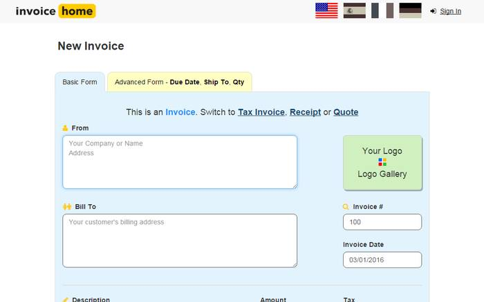 Invoice Home - Best Invoice Generator Online to Create Your Own Invoice Online for Free