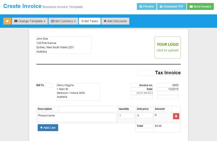 Online Invoices - Template Based Invoice Creator Online to Create Free Invoice Online