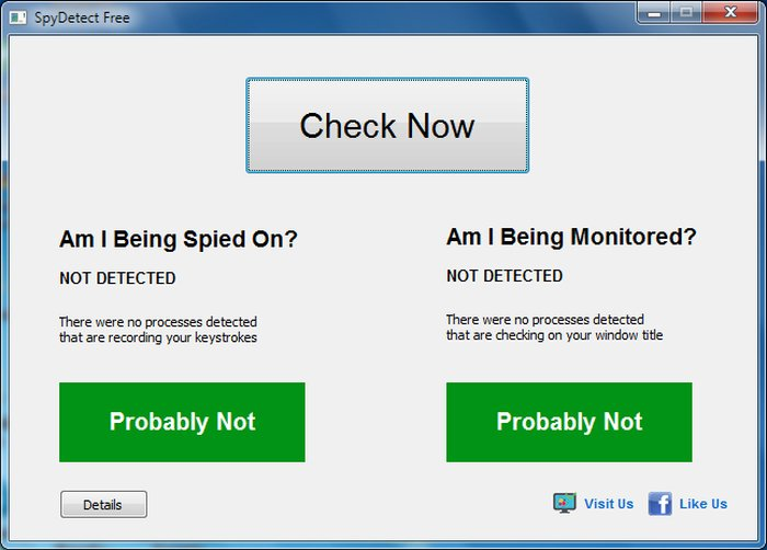 Results - Free Spy Detector Software for Windows - Spy Detect Free for Windows