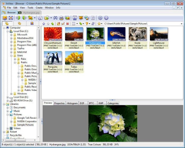 XnView - photo editor and organizer - alternatives to picasa
