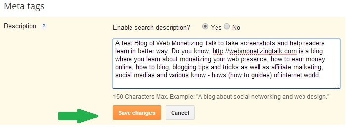 Meta Description Tags Enabled in Blogger Blog