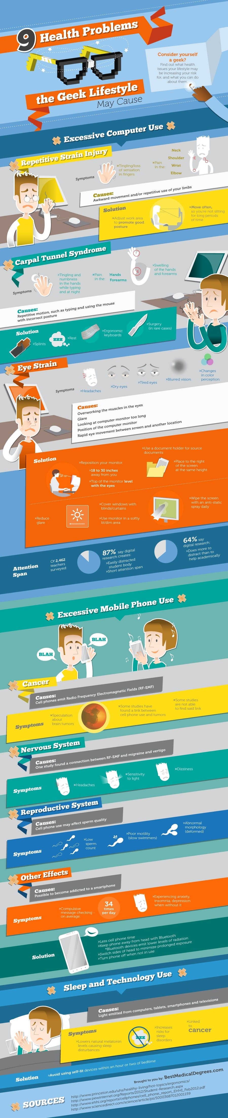 Health Problems Caused by Online Geek Lifestyle Infographic
