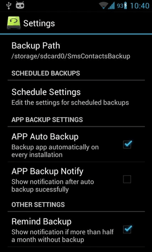 Changing Device Backup File Location in Super Backup Android Data Recovery Apps