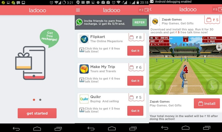 Ladoo - Best Android Apps to Get Free Mobile Recharges