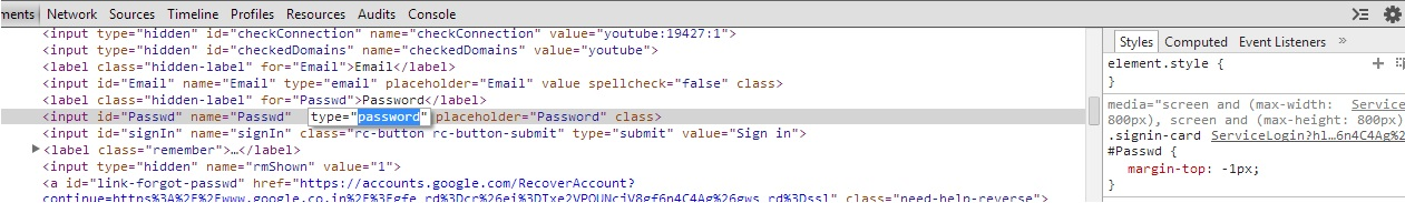Change HTML in Chrome to Reveal Pasword Hidden Behind Asterisks