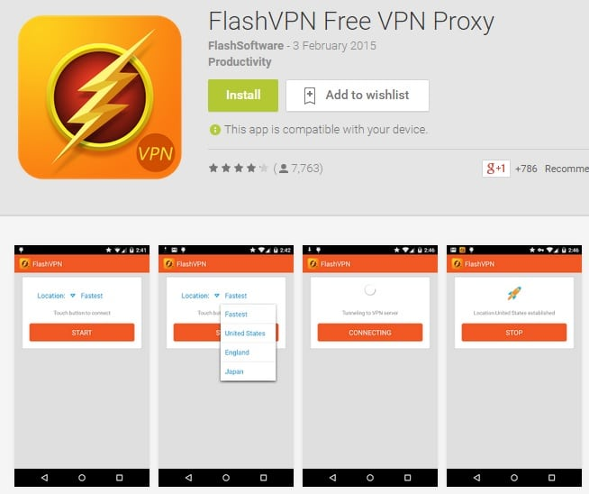 Flash VPN - Free VPN Proxy - Top Free Android VPN Apps