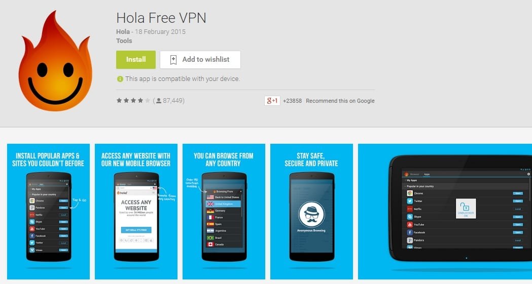 Hola Free VPN - Top Best Free Android VPN app
