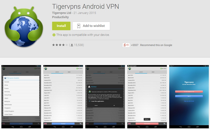Tigervpns Android VPN App