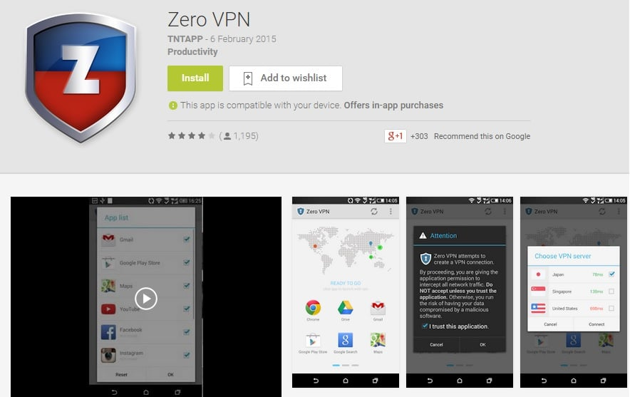 Zero VPN - Free Android VPN at Zero Cost and Zero Difficulty