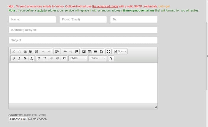 Anonymousmail- feature rich anonymous email service to send email anonymously for free using anonymous email account