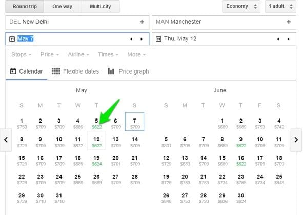 Google-Flights-Calendar - Google Flights Search Tricks - Check Google Flights Status - 6 Google Flights Status Checking Tips to Become a Google Flights Guru