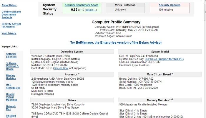 Belarc-Advisor-Online-system-inforamtion-utility - Best Free System Information Utilities to Check System Information - How to Find System Specs on Windows 8