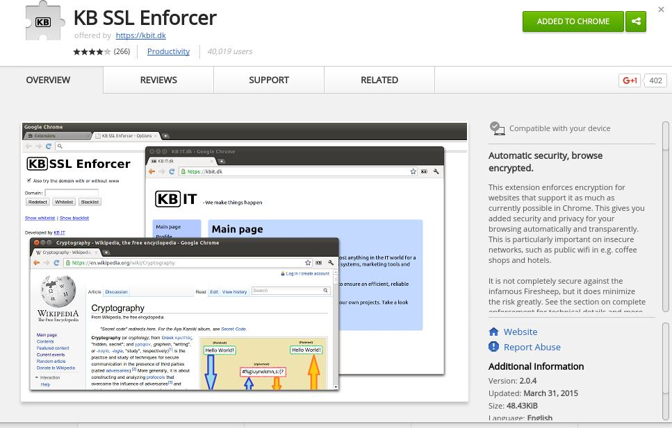 KB SSL Enforcer - Forced HTTPS - Best Chrome Extensions to Protect Privacy - Best Security Extensions for Chrome