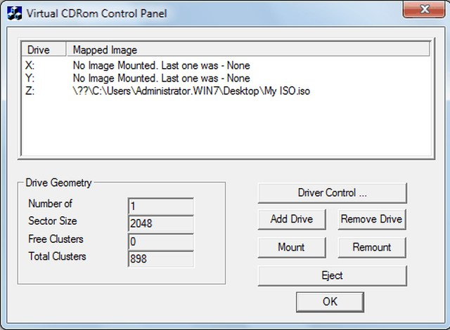 Microsoft Virtual CDRom Control Panel ISO Mounting Software - Best ISO Mounting Software to Mount ISO Files - How to Mount an ISO Files - Best Free ISO Mounting Software