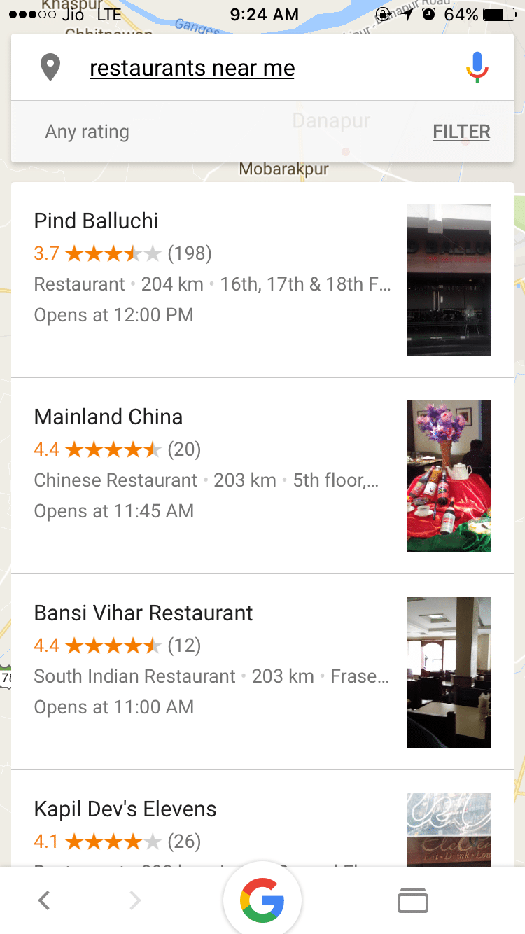 Google Now - Food Near Me - Find Restaurants for Chinese, Mexican, Thai, Fast Food Delivery Near Me